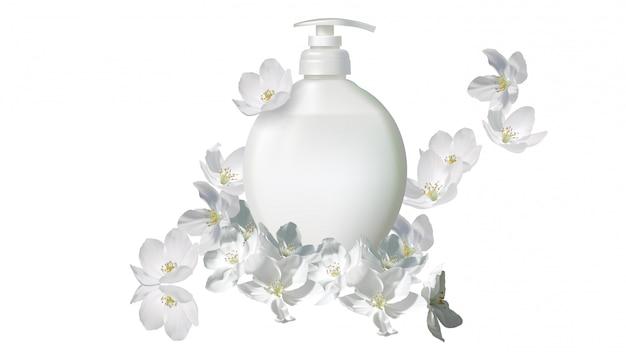 Jabón líquido cosmético realista con flor de jazmín