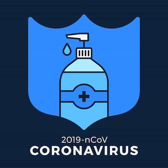 Jabón o gel desinfectante y escudo con antibacteriano, icono de virus, higiene, ilustración médica. protección coronavirus covid-19