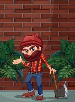 Jack de madera con hacha de pie delante de la pared