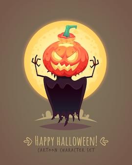 Jack o linterna. espantapájaros de calabaza. concepto de personaje de dibujos animados de halloween. ilustración.