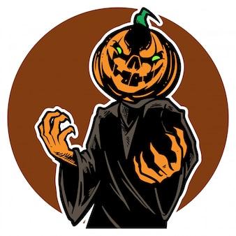 Jack o linterna espeluznante de halloween