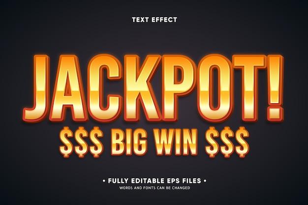 Jackpot efecto de texto de gran victoria