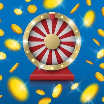Jackpot girando la rueda de la fortuna con explosión de monedas de oro desde el centro