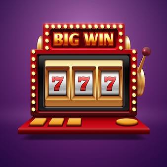 Jackpot tragamonedas de casino. vector de un brazo bandido. tragamonedas para casino, siete afortunados en el juego.