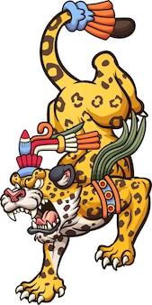 Jaguar de dibujos animados enojado caminando. ilustración de arte de clip.