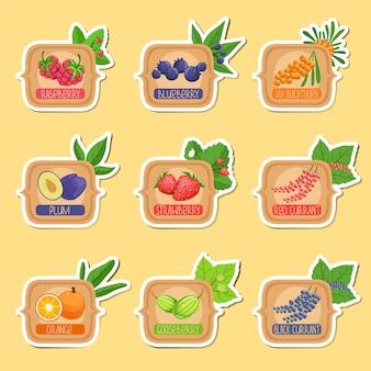 Jam label sticker collection de plantillas en marcos cuadrados