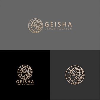 Japón cultura belleza geisha logo línea arte editable plantilla