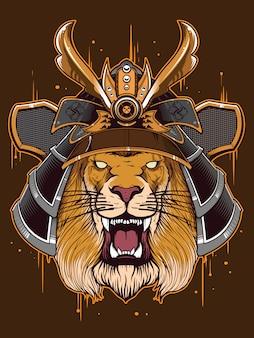 Japón guerrero con cabeza de león