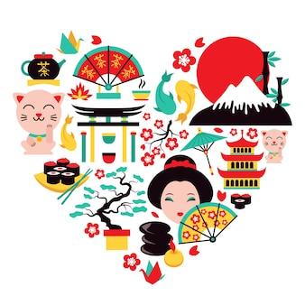 Japón símbolos corazón
