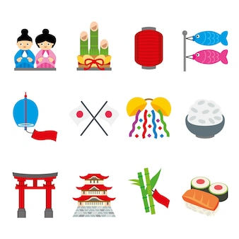 Japón tradición food place travel asia vector