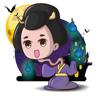 Japonés rokurokubi fantasma de dibujos animados divinidad familiar de la religión popular japonesa concepto de halloween