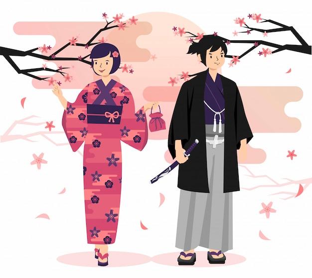 Los japoneses visten kimono ilustración