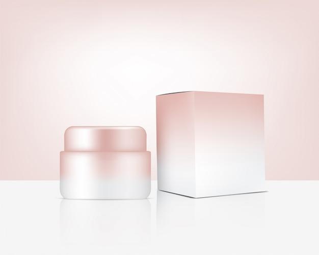 Jar mock up realistic rose gold cosmetic y caja para productos para el cuidado de la piel