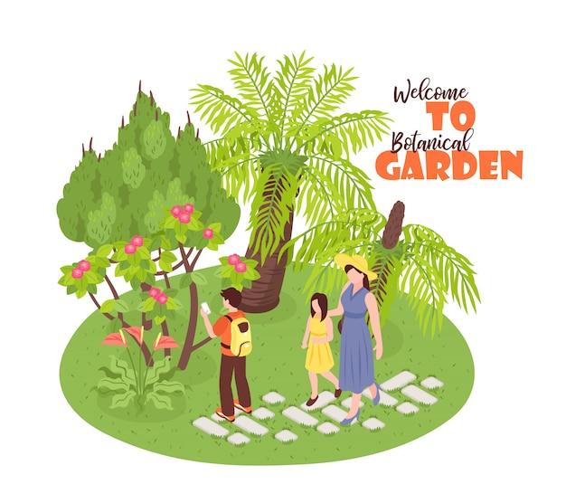 Jardín botánico isométrico con vista del parque natural salvaje caminando personajes humanos y texto adornado