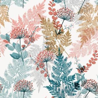 Jardín de hojas y flores de pradera en vector de patrones sin fisuras