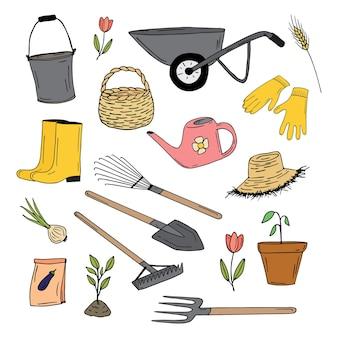Jardín doodle colección herramientas de jardín plantas vector de color dibujado a mano