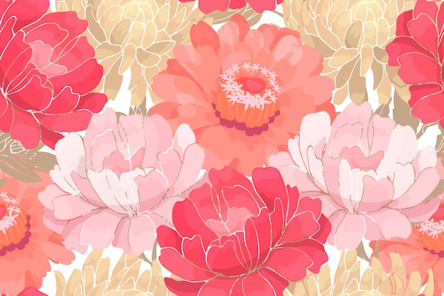 Jardín de flores de color rosa y blanco con hojas de color beige aisladas en blanco