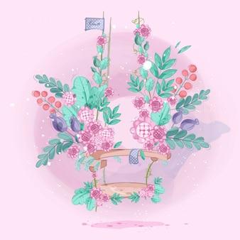 Jardín de flores en lindos columpios. ilustración vectorial