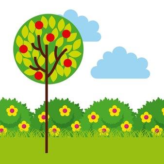Jardín con hermosas flores y árboles