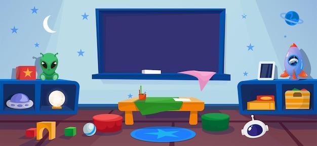Jardín de infancia. ovni, extraterrestre. clase con mesa y tablero escolar. interior con juegos, juguetes.