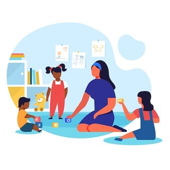 Jardín de infantes, ilustración de vector plano de playschool