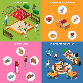 Jardín de infantes jugar tierra isométrica