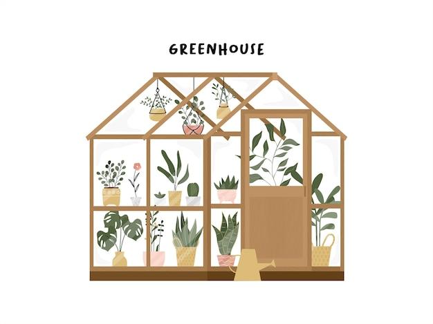 Jardín con invernadero o jardinería doméstica dibujado a mano.