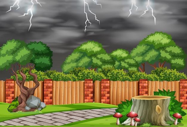 Un jardín de naturaleza con mal tiempo.
