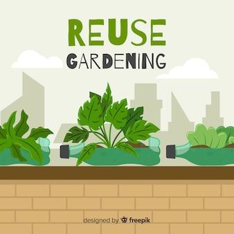 Jardin reutilizable en la ciudad