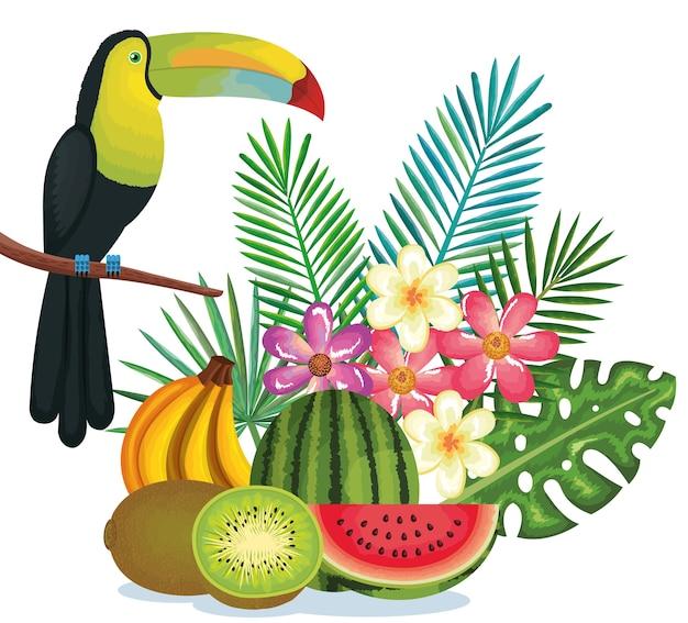 Jardín tropical con frutas y tucán