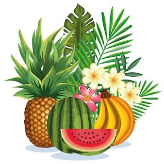Jardín tropical con frutas