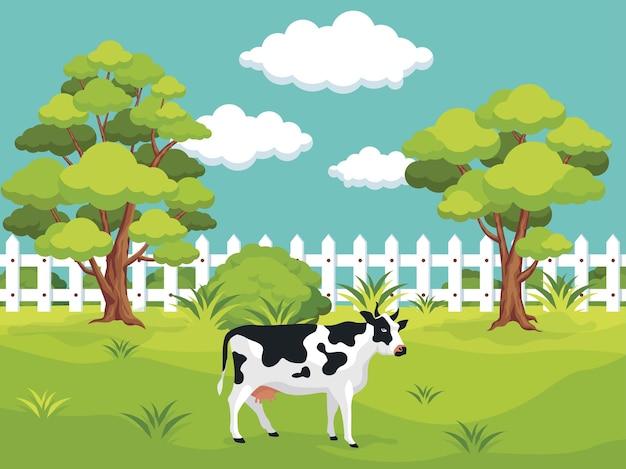 Jardín con una vaca