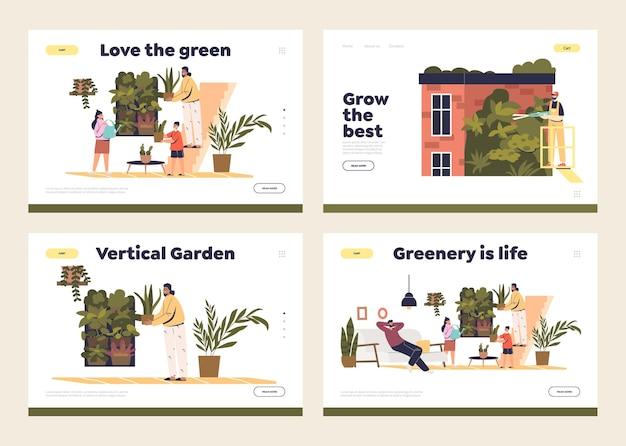 Jardín vertical para el concepto interior o exterior del conjunto de plantillas de páginas de destino