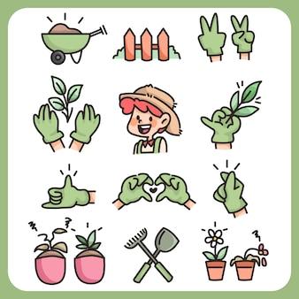 Jardinería agricultura colección de iconos dibujados a mano agricultor de dibujos animados lindo y herramientas agrícolas pulgar verde