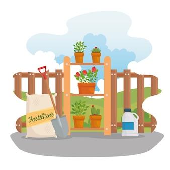 Jardinería bolsa de fertilizante pala y diseño de plantas, plantación de jardines y naturaleza.