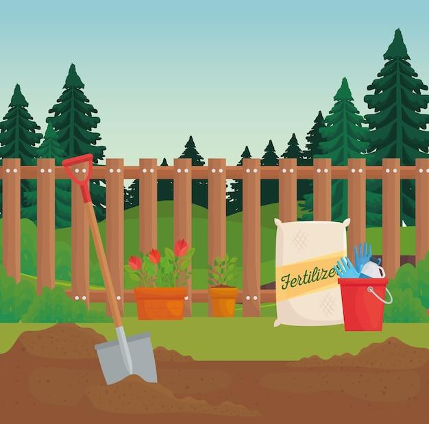 Jardinería bolsas de fertilizante plantas y diseño de palas, plantación de jardines y naturaleza.