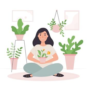 Jardinería en casa con mujer y plantas.