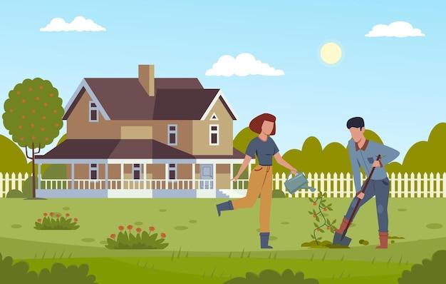 Jardinería doméstica. hombre cavando con pala y niña regando la planta, plantando árboles, trabajando juntos en el jardín del patio, pareja de hombres y mujeres que cultivan la ilustración de dibujos animados de vector plano moderno