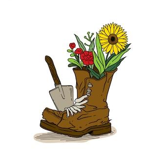 Jardinería flores botas