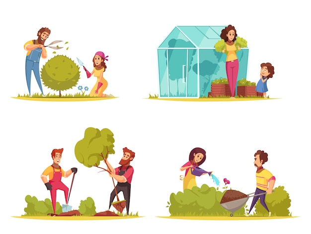 Jardinería hortalizas crecimiento recorte de arbustos plantar árboles riego de flores concepto de diseño de dibujos animados