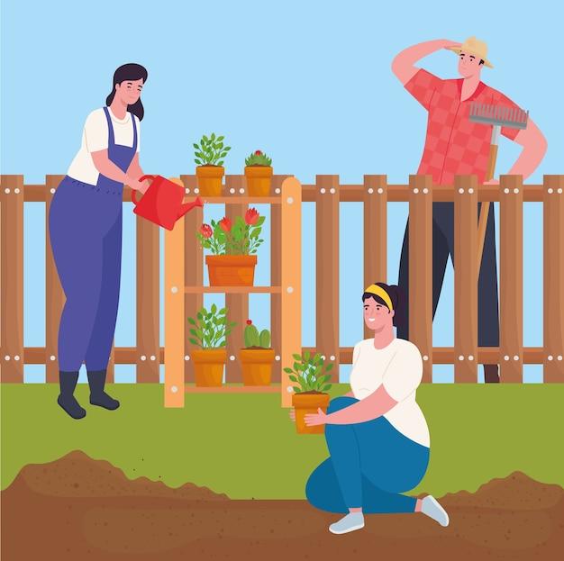 Jardinería de mujeres y hombres con plantas y diseño de regadera, plantación de jardines y naturaleza