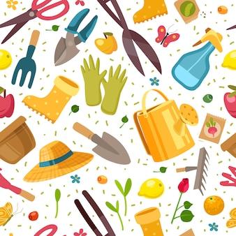 Jardinería de patrones sin fisuras. jardinería de patrones sin fisuras con herramientas de jardín ramas y hojas sobre fondo blanco.