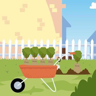 Jardinería, plantas con bolsa en carretilla para plantar en la ilustración del patio