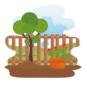 Jardinería de plantas y flores en diseño de macetas, plantación de jardines y naturaleza.