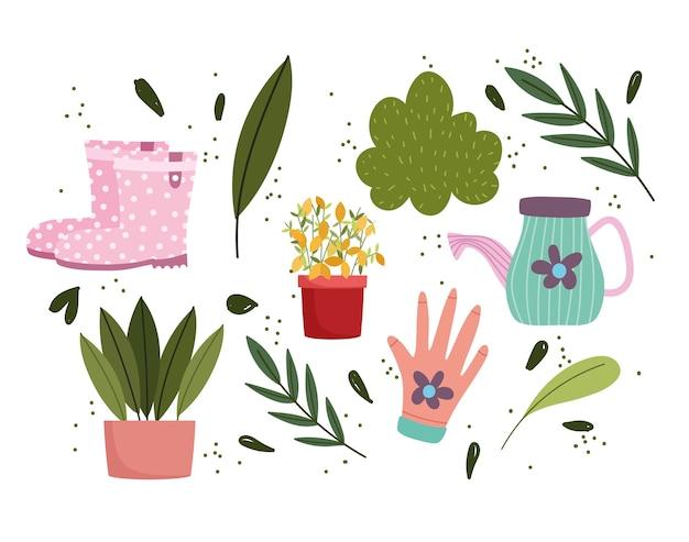 Jardinería, plantas en macetas, regadera, botas y hojas.