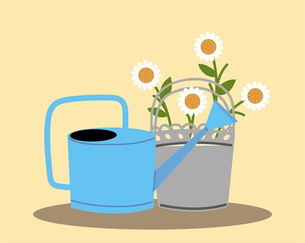 Jardinería, regadera y flores en la ilustración de decoración de maceta