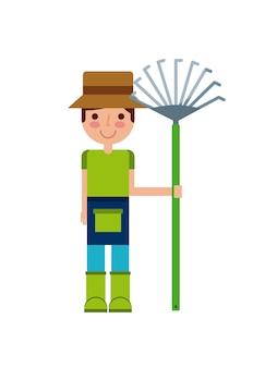 Jardinero hombre icono de dibujos animados