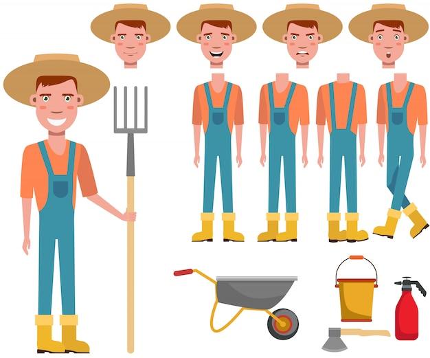 Jardinero joven en el sombrero de paja que sostiene el conjunto de caracteres del rastrillo