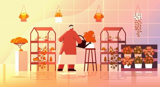 Jardinero de mujer mayor con regadera cuidando plantas en macetas en el jardín de su casa, sala de estar u oficina, interior horizontal, ilustración vectorial de longitud completa