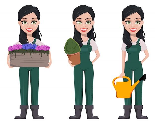 Jardinero mujer, personaje de dibujos animados en uniforme